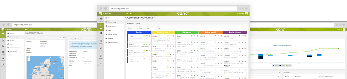 Screenshots from Xena: Partner details, Order status, and Dashboard.